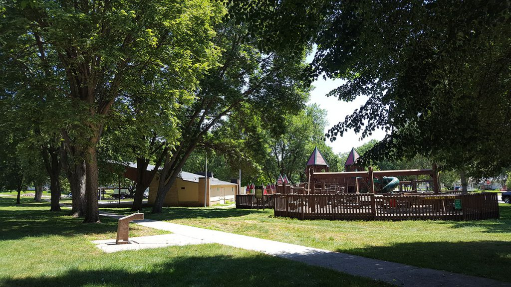 Washington Park is a two-acre park located right in the middle of Denison at 210 South 17th Street. It includes two covered shelters, a double basketball court and a bandshell. In addition, the park features Kid's Kastle, a community built mega playground for area youth.